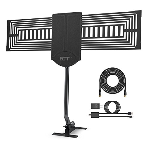 GJT Outdoor TV Antenna 150 Miles Range High Reception Digital HDTV Attic/Roof Antenna with Amplifier and Mount Kit for Free Channel,30ft High Performance Coax Cable with Adapter by GJT