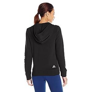 adidas Women's Essentials Linear Full Zip Fleece Hoodie, Black/White, Small