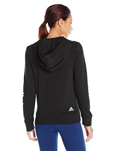 adidas Women's Essentials Linear Full Zip Fleece Hoodie, Black/White, X-Small by adidas (Image #2)
