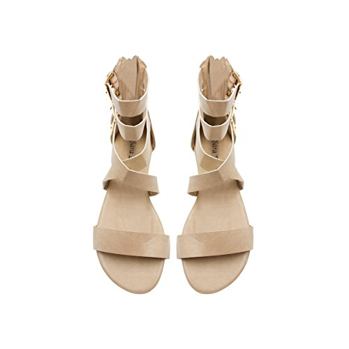 (Sara Z Womens Triple Ankle High Wide Strap Flat Gladiator Sandals with Back Zipper (7/8 M US, Tan))