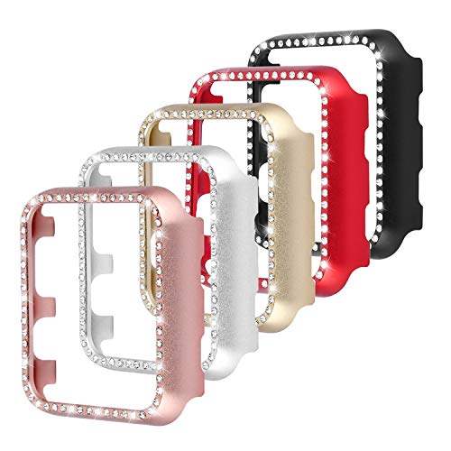 Case Watch Rhinestone (Leotop Compatible with Apple Watch Case 42mm, Metal Bumper Protective Cover Frame Accessories Women Girl Bling Shiny Crystal Rhinestone Diamond Compatible iWatch Series 3/2/1 (5 Color Pack, 42mm))