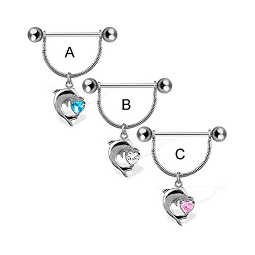 MsPiercing Nipple Ring With Dolphin And Heart Shaped Gem, 14 Ga, Aquamarine - A