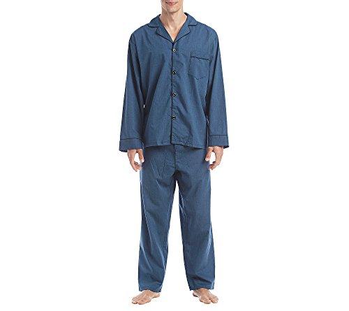 (Hanes Men's Broadcloth Pajama Set, Navy, Extra Large)