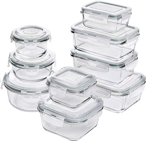 Utopia Kitchen [18-Pieces] Glass Food Storage Containers with Lids - Glass Meal Prep Containers with Transparent Lids - BPA Free - (9 Containers and 9 Lids) - Set of 18 - Grey