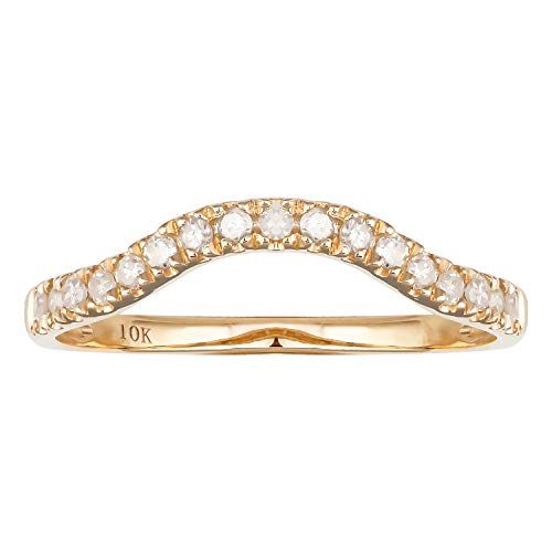 10k Yellow Gold Curved Diamond Wedding Band (1/5 cttw, I-J Color, I2-I3 Clarity) (Curved Wedding Band Yellow Gold)