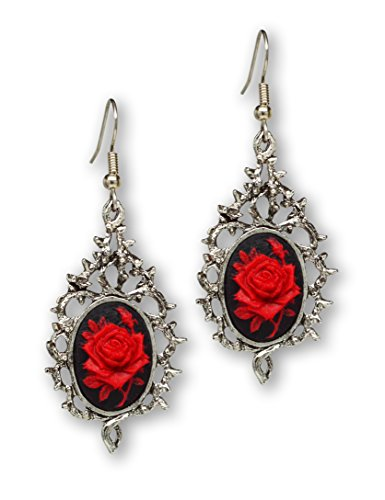 Gothic Red Rose Cameo on Climbing Vines Dangle (Red Vines Halloween)
