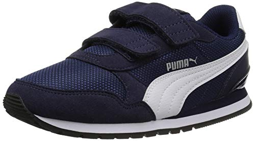 Puma Unisex ST Runner V2 MESH Kids Sneaker Velcro Closure, Peacoat|White , 12.5 M US Little Kid