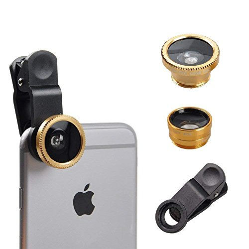 I-Sonite (Gold Mobile Phone Universal Camera Lens 3 in 1 Kit Wide Angle + Fisheye + Macro Lens For Ematic eGlide Steal