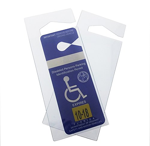 2 Pack - Clear Handicap Parking Placard Protective Holder - Rear View Mirror Disability Permit Hanger - Hard Flexible Plastic Construction - by Specialist ID