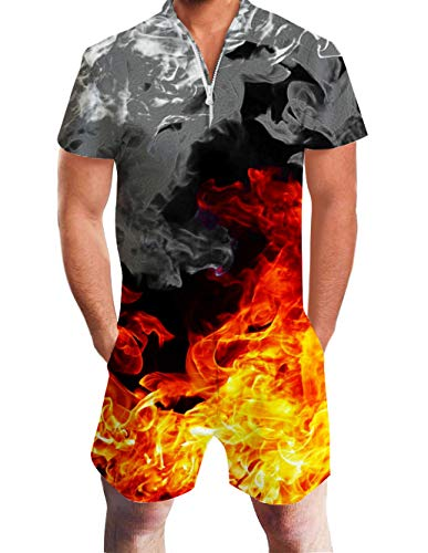 Mens Romper Shorts Colorful Smoking Pattern Slim Fit 80s Workout Zip Up Onesie Adult Sweet Romper One Piece Jumpsuit Novelty Shorts Cargo Pants Cute Outfit with Pocket for Summer Party -