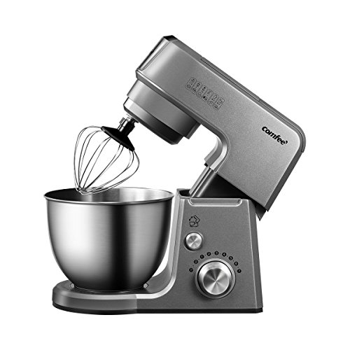 , Comfee 2.6Qt Die Cast 7-in-1 Multi Function Tilt-Head Stand Mixer with SUS Mixing Bowl