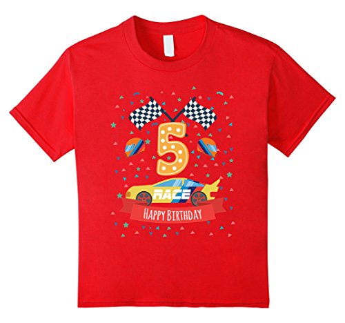 Kids 5th fifth 5 five years old happy birthday race car t shirts 4 Red (His Race Car)