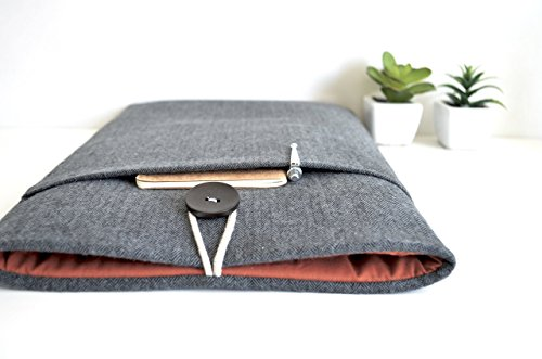 Herringbone Laptop Sleeve Case for MacBook Air/Pro/Retina Chromebook Surface Custom Fit 10, 13, 15.6 - Button Two Herringbone Wool