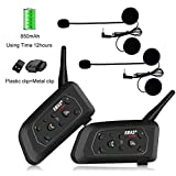EJEAS 2 Pack V6Pro 1200m Motorcycle Bluetooth Communication System More Power Capacity Motocycle Intercom Headset Motorbike Interphone Up to 6 Riders for Rinding Skiing Cycling Climbing Communication