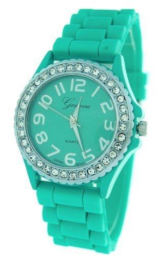 Aqua Ceramic Style Silicone Gel Band Crystal Women's (Aqua Womens Watch Band)