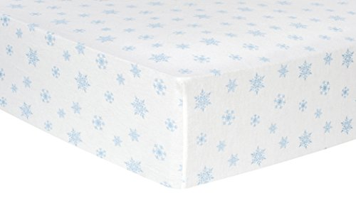Trend Lab Cotton (Trend Lab Blue Snowflakes Deluxe Flannel Fitted Crib Sheet)