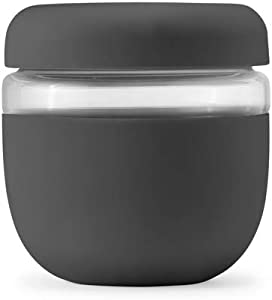 W&P Porter Seal Tight Glass Lunch Bowl Container w/ Lid | Charcoal 24 Ounces | Leak & Spill Proof, Soup & Stew Food Storage, Meal Prep, Airtight, Microwave and Dishwasher Safe, BPA-Free Glass