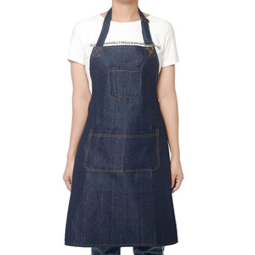 (Denim Jean Apron for women with pockets work apron for Women Chef Barista Bartender Painter in Cooking Kitchen Bistro Cafe,One Size Lightweight )