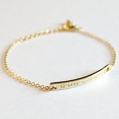 SAME DAY SHIPPING GIFT TIL 2PM CDT Coordinate Bar Bracelet Daimond Engraving 16k Gold Silver Rose Gold -Plated Dainty GPS Personalized dainty and delicate Initial Charms Bridesmaid wedding mom (Estate Rose Gold Earrings)