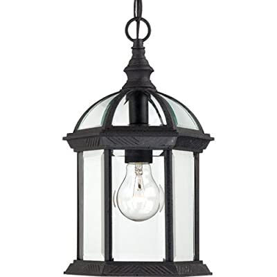 Nuvo Lighting 60/4979 Boxwood One Light Hanging Lantern 100 Watt A19 Max. Clear Beveled Glass Textured Black Outdoor Fixture - Requires (1) 100W A19 max./Medium base (not included) Width 8-Inch, Height 13.75-Inch, Chain 48-Inch, Wire-12-Feet Hanging Lantern - patio, outdoor-lights, outdoor-decor - 41c62OAKYKL. SS400  -