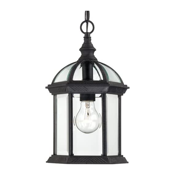 Nuvo Lighting 60/4979 Boxwood One Light Hanging Lantern 100 Watt A19 Max. Clear Beveled Glass Textured Black Outdoor Fixture - Requires (1) 100W A19 max./Medium base (not included) Width 8-Inch, Height 13.75-Inch, Chain 48-Inch, Wire-12-Feet Hanging Lantern - patio, outdoor-lights, outdoor-decor - 41c62OAKYKL. SS570  -