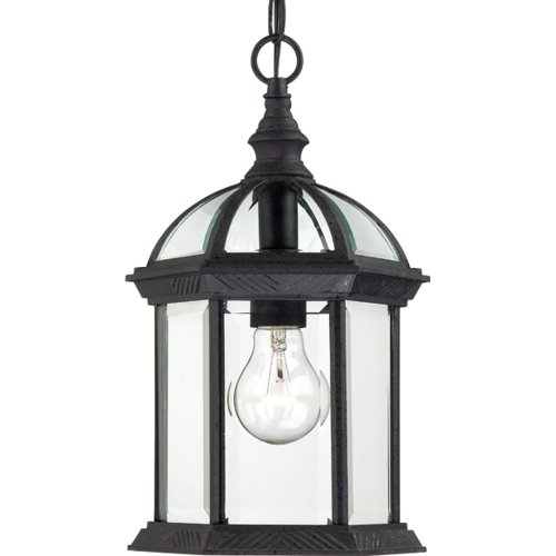 Nuvo Lighting 60/4979 Boxwood One Light Hanging Lantern 100 Watt A19 Max. Clear Beveled Glass Textured Black Outdoor Fixture