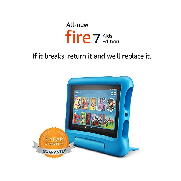 """Fire 7 Kids Tablet, 7"""" Display, ages 3-7, 16 GB, Blue Kid-Proof Case 3"""
