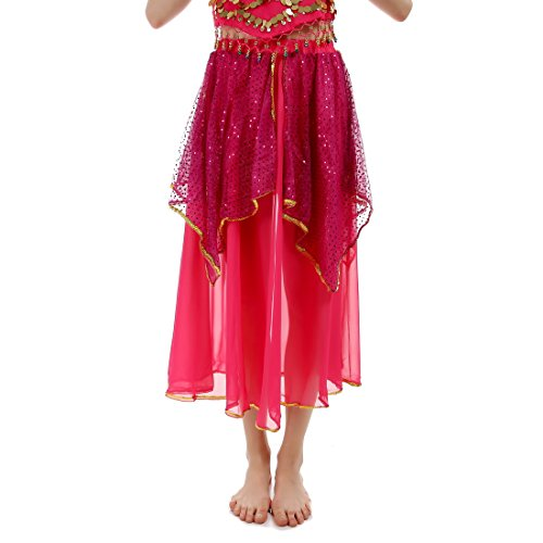 JEANSWSB Golden Edge Belly Dance Pants Skirts 120D Chiffon Adult (Pink Indian Sari Adult Costume)