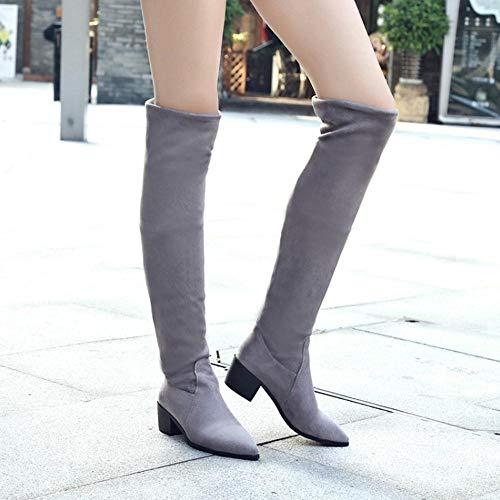 Mode Cuissardes Bottes Extensible Taoffen Gris Femmes 0nYxqOapH