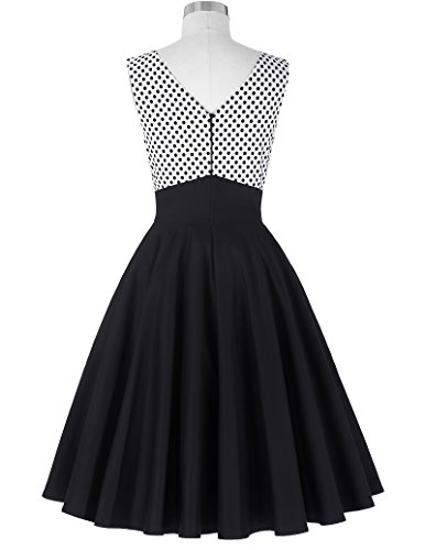 Belle Poque®Vestido Vintage Cuello En V Sin Mangas Falda Acampanada Plisada A Lunares Cintura Alta Elegante Negro y Blanco