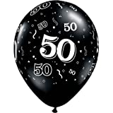 """Arts & Crafts : 11"""" 10 Around 50th Onyx Black (10/b Latex Balloons (10 Per Package) by Qualatex"""