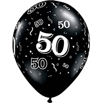 11 10 Around 50th Onyx Black Latex Balloons Per Package