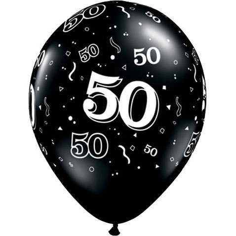 Happy 50th Birthday Balloon - Qualatex 50-A-Round Biodegradable Latex Balloons, Onyx Black with White Prints All-Around, 11-Inch (10-Units)