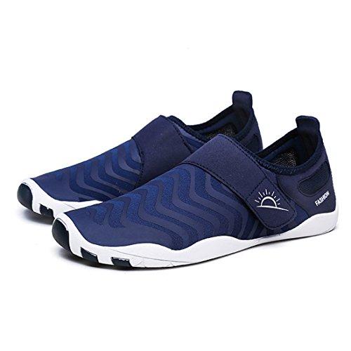 Cool&D Aquaschuhe Aqua Schuhe Wasserschuhe Fitness Schuhe Atmungsaktiv Strandschuhe Schwimmschuhe Badeschuhe Surfschuhe für Damen Herren Kinder Dunkelblau