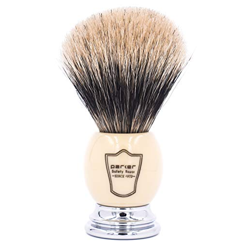 "Parker Safety Razor Handmade Deluxe""Long Loft"" 100% 3-Band Pure Badger Shaving Brush with Ivory & Chrome Handle - Brush Stand Included"