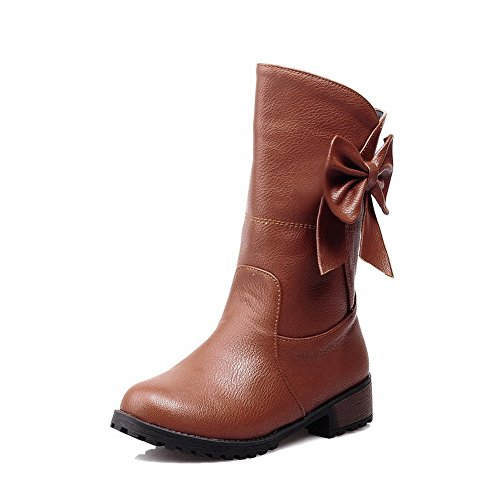 Allhqfashion Women's Soft Material Pull-On Round Closed Toe Low-Heels Low-Top Boots Brown r32Gc9iTw