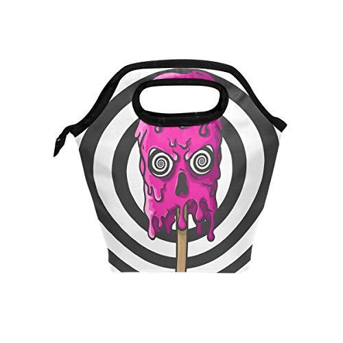 My Little Nest Insulated Cooler Tote Lunch Bag Halloween Skull Ice Cream Work Picnic Food Organizer Lunchbox for Women Men Kids ()