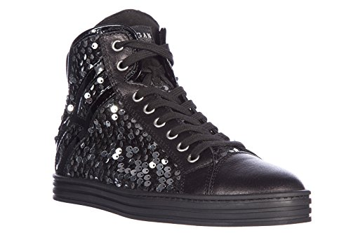 Hogan Rebel Damenschuhe Damen Leder Schuhe High Sneakers r182 colletto imbottito