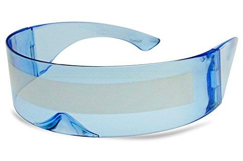 b38090e9deb5 Galleon - SunglassUP One Piece Futuristic Wrap Around Novelty Cyclops  Robocop Sunglasses (Light Blue Frame