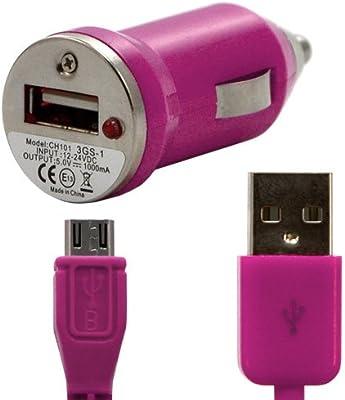 Cargador Coche mechero USB + Cable Data Color Rosa para Sony ...