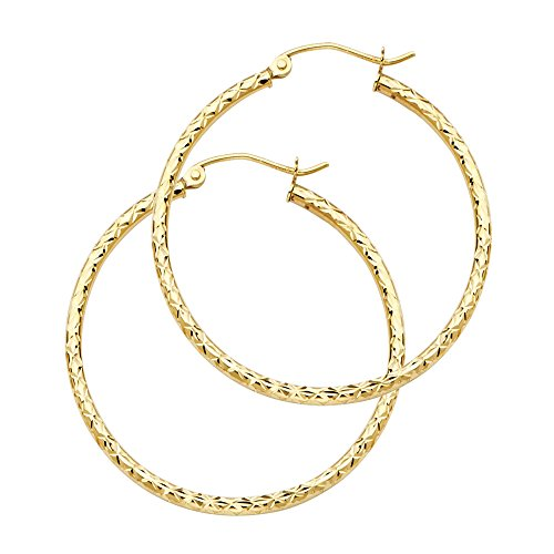 14 Karat Gold Costume (14K Gold 25mm Diamond Cut Hoop Earrings with Click Top Backing)