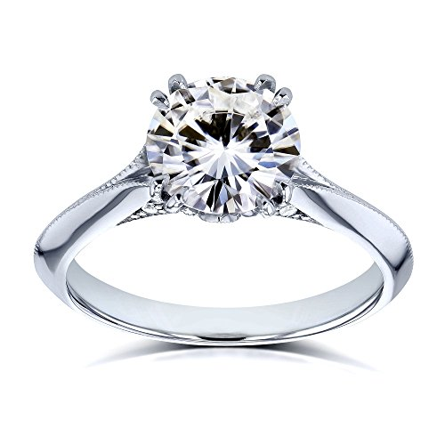 1 3/5 Carat TW Forever One Colorless (DEF) Moissanite with Diamond (GH) Floral Ring in 14k White Gold
