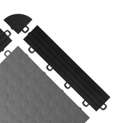 Loop Edge Trim - BlockTile R1US4212 Interlocking Ramp Edges With Loops, Black, 14-Pack