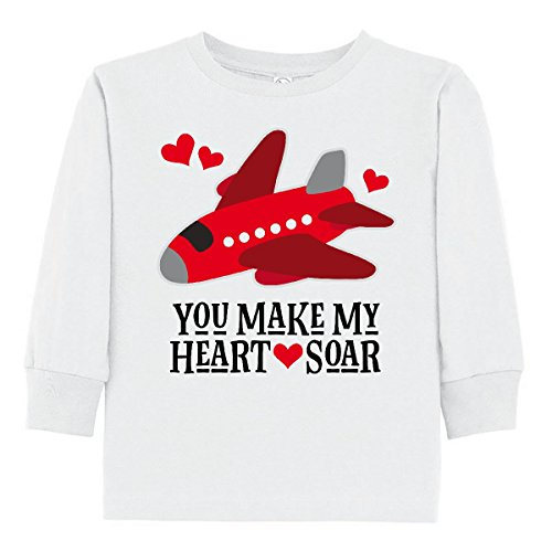 inktastic - Valentines Day Airplane Toddler Long Sleeve