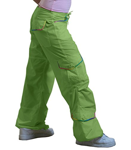Ufo Pants (UFO Monica Pant with Rainbow Piping, Lime (Large))