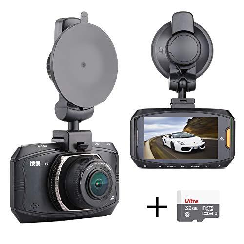 Ultra Full HD Car Dash Cam, 178 Degree Wide Angle Ambarella A7 Dashboard Camera Recorder Vehicle Black Box WDR Night Vision G-Sensor Parking Monitor Loop Recording, with 32G Memory Card