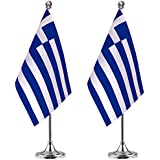 Greek Desk Flag Small Mini Greece Office Table Flag with Stand Base,Greece Themed Party Decorations Celebration Event,2 Pack