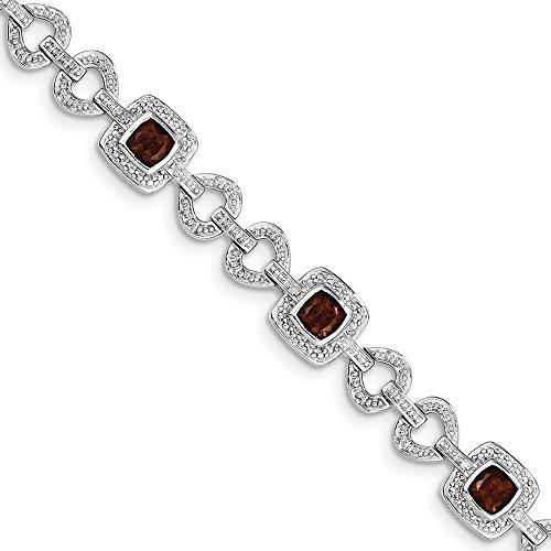 (Sterling Silver Rhodium-plated Diamond & Garnet Bracelet)