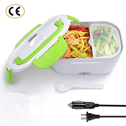 Nifogo Electric Heating Bento Lunch Box, Car and Home Use Portable Lunch Heater with Removable Stainless Steel Container Food Grade Material 110V and 12V (green)