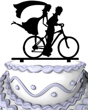 meijiafei el novio silueta de equitación con la novia Toppers De Tarta para bicicleta: Amazon.es: Hogar